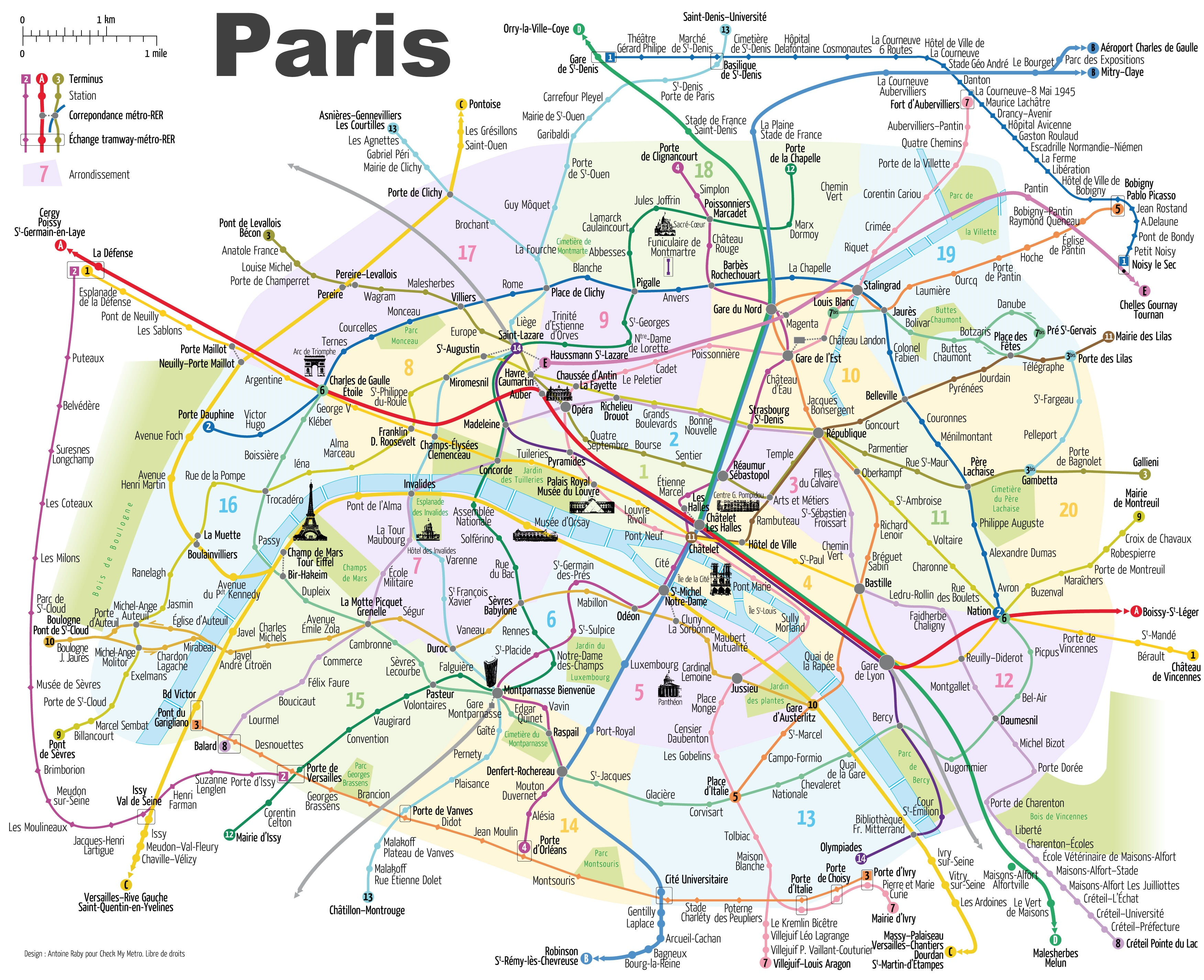 Paris Metro Map With Main Tourist Attractions - Printable Map Of Paris With Tourist Attractions