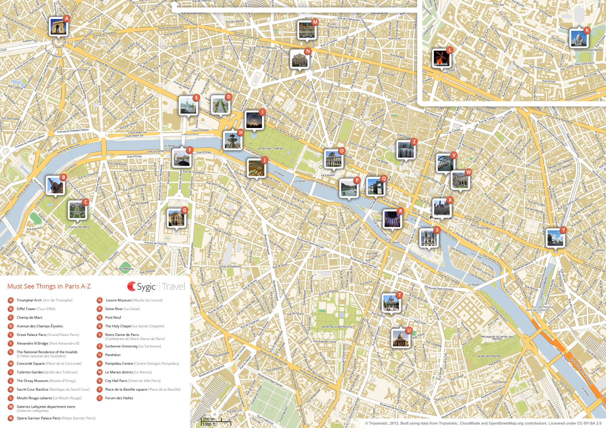 Paris Printable Tourist Map   Sygic Travel - Paris Street Map Printable