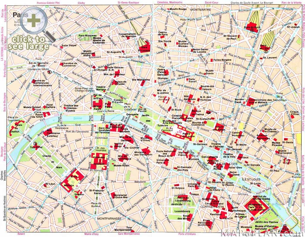 Paris Top Tourist Attractions Map 04 Must See Travel Destinations - Printable Map Of Paris Tourist Attractions