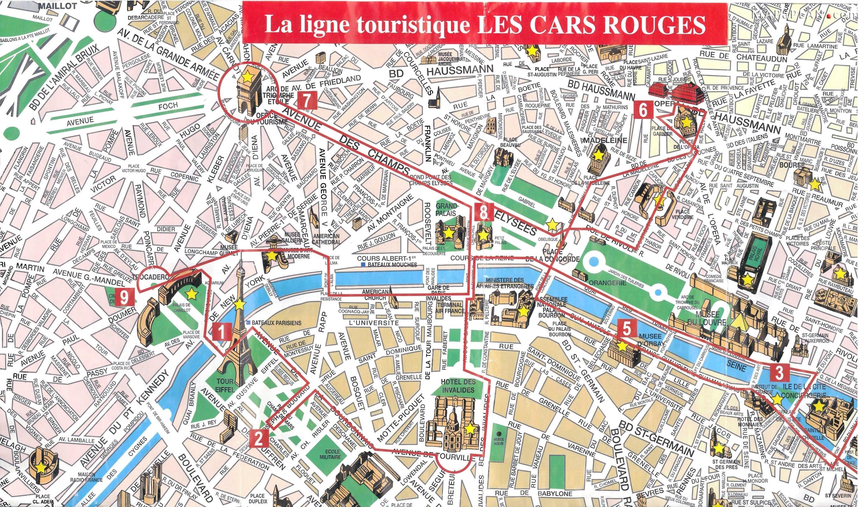 Paris Top Tourist Attractions Map 08 City Sightseeting Route Planner - Paris Map For Tourists Printable