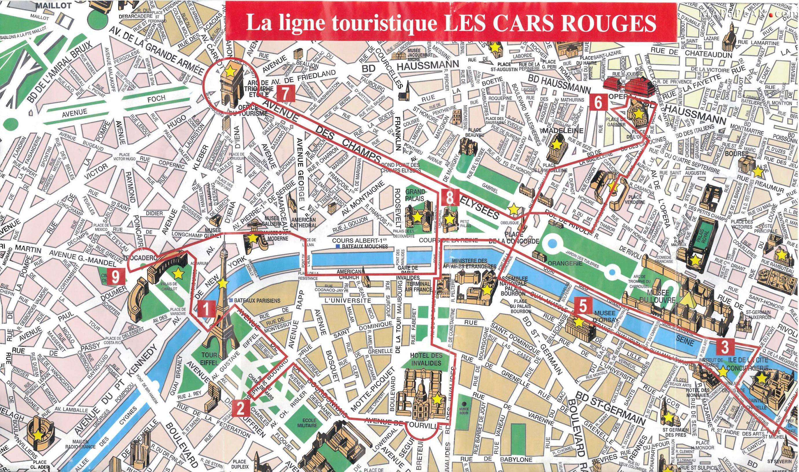 Paris Top Tourist Attractions Map 08 City Sightseeting Route Planner - Paris Tourist Map Printable