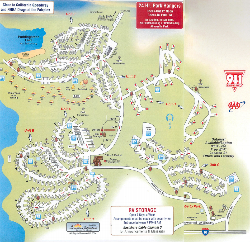Park And Resort Map - East Shore Rv Park - California Tent Camping Map