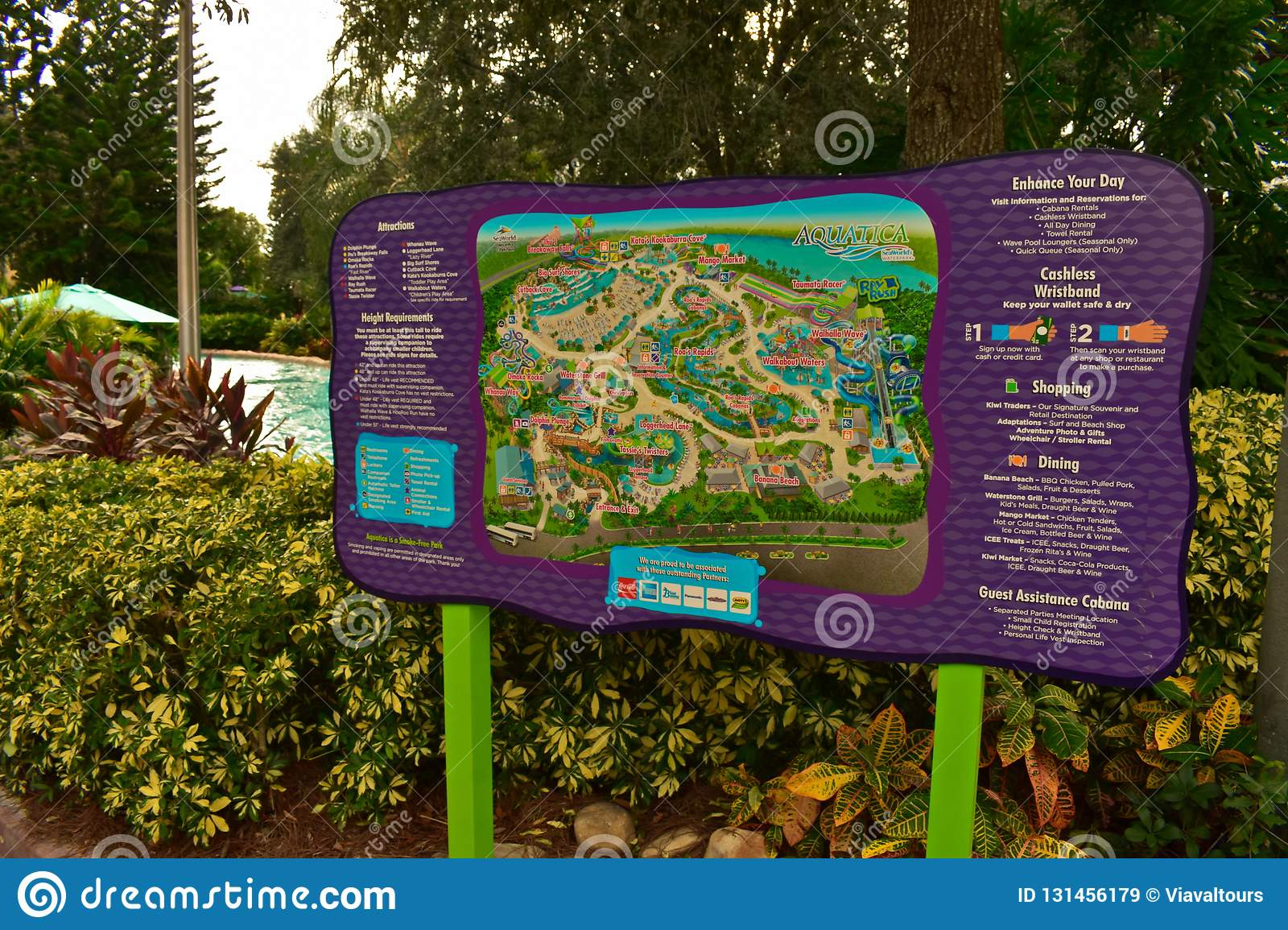 Park Map Sign At Aquatica Water Park In International Drive Area - Aquatica Florida Map