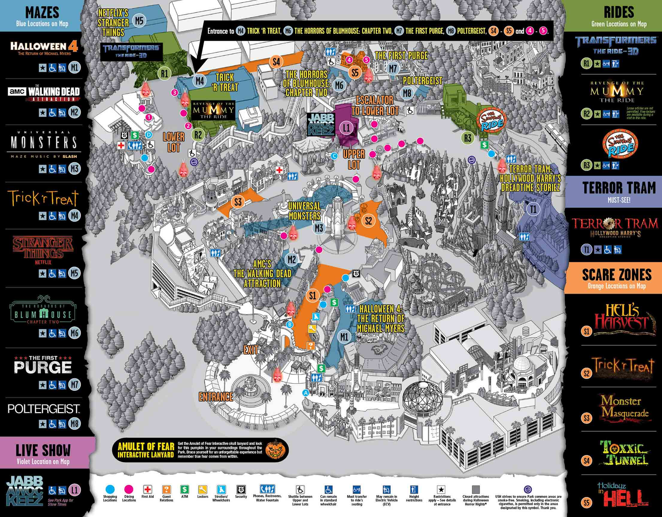 Park Map - Universal Studios Hollywood: Halloween Horror Nights - Universal Studios Map California 2018