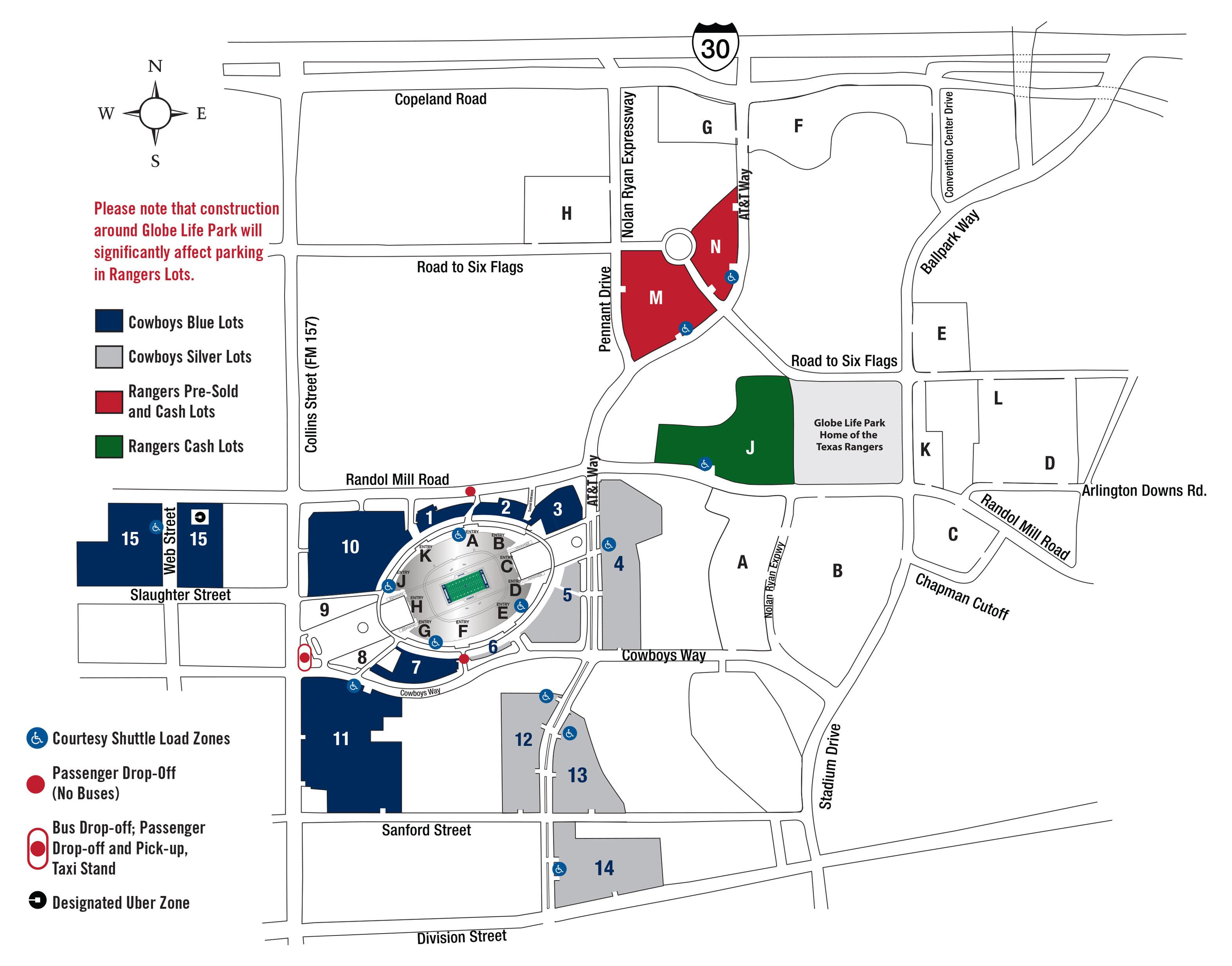Parking   At&t Stadium - Texas Rangers Stadium Parking Map