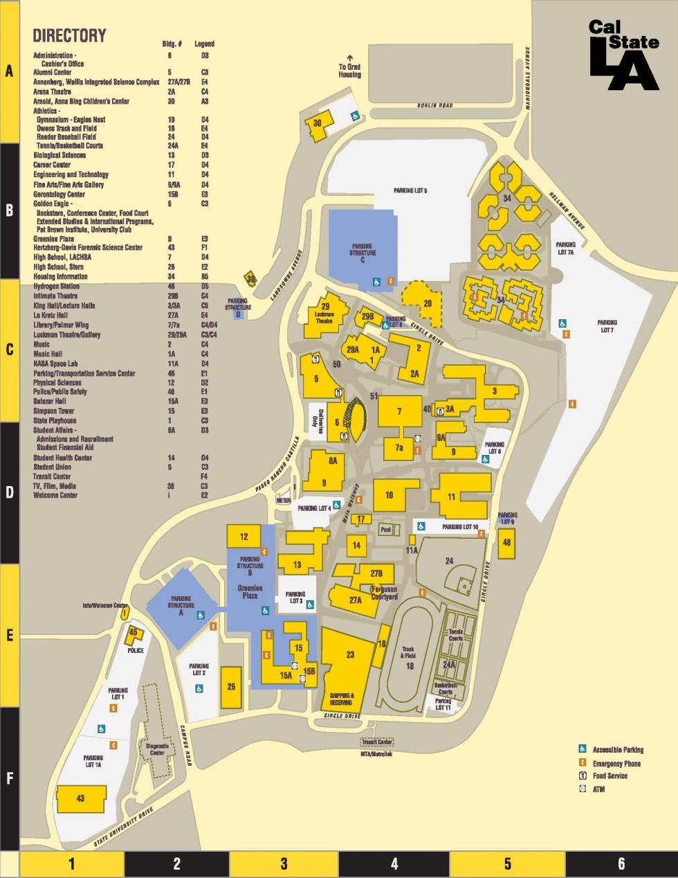 Parking/directions/campus Map | Cal State La - California Institute Of The Arts Campus Map