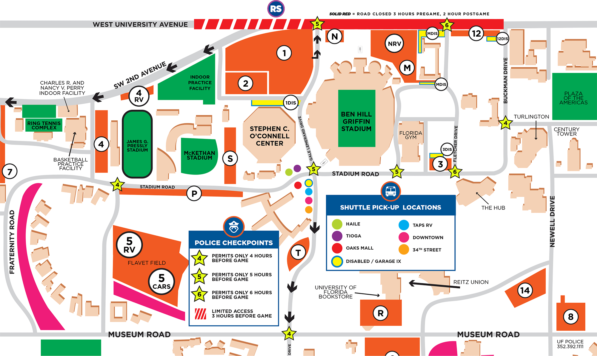 Parking - Football - Florida Gators - Florida Hospital South Map