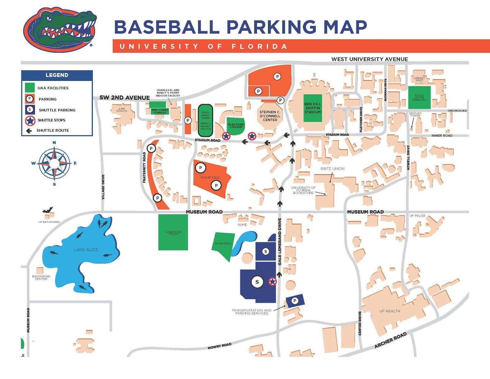 Parking Information For 2015 Ncaa Gainesville Baseball Super - University Of Florida Football Stadium Map
