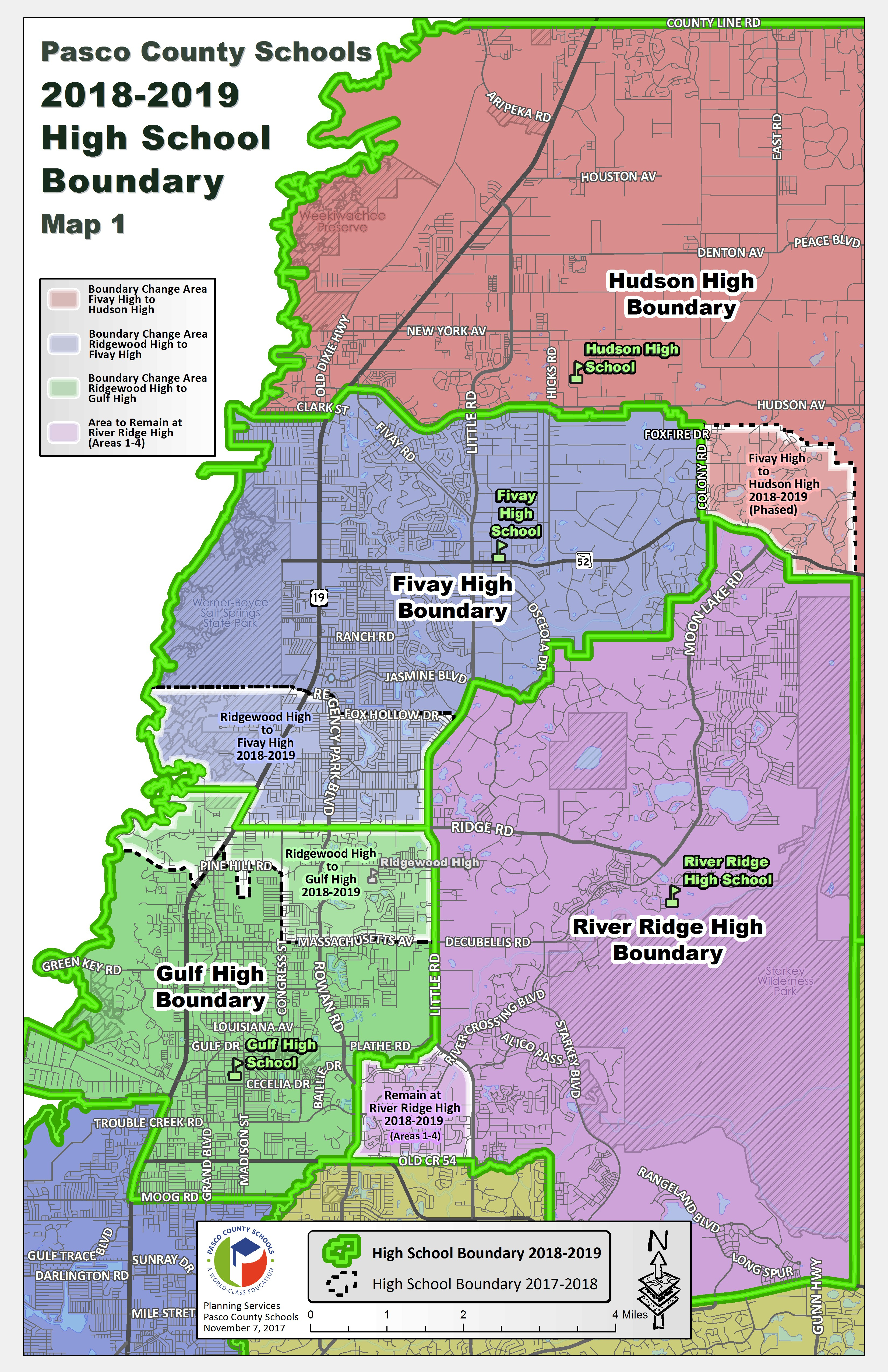 Pasco School District Posts Proposed Rezoning Map For Ridgewood High - Hudson Florida Map