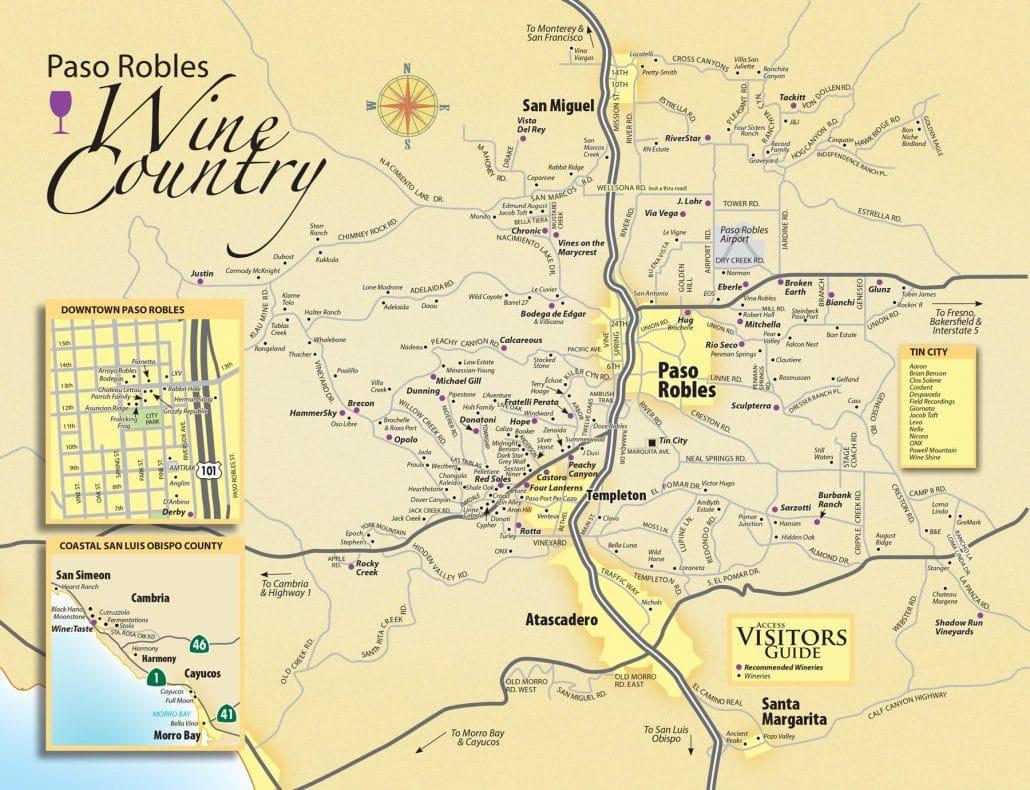 Paso Robles Wine Maps - California Winery Advisor - Where Is Paso Robles California On The Map