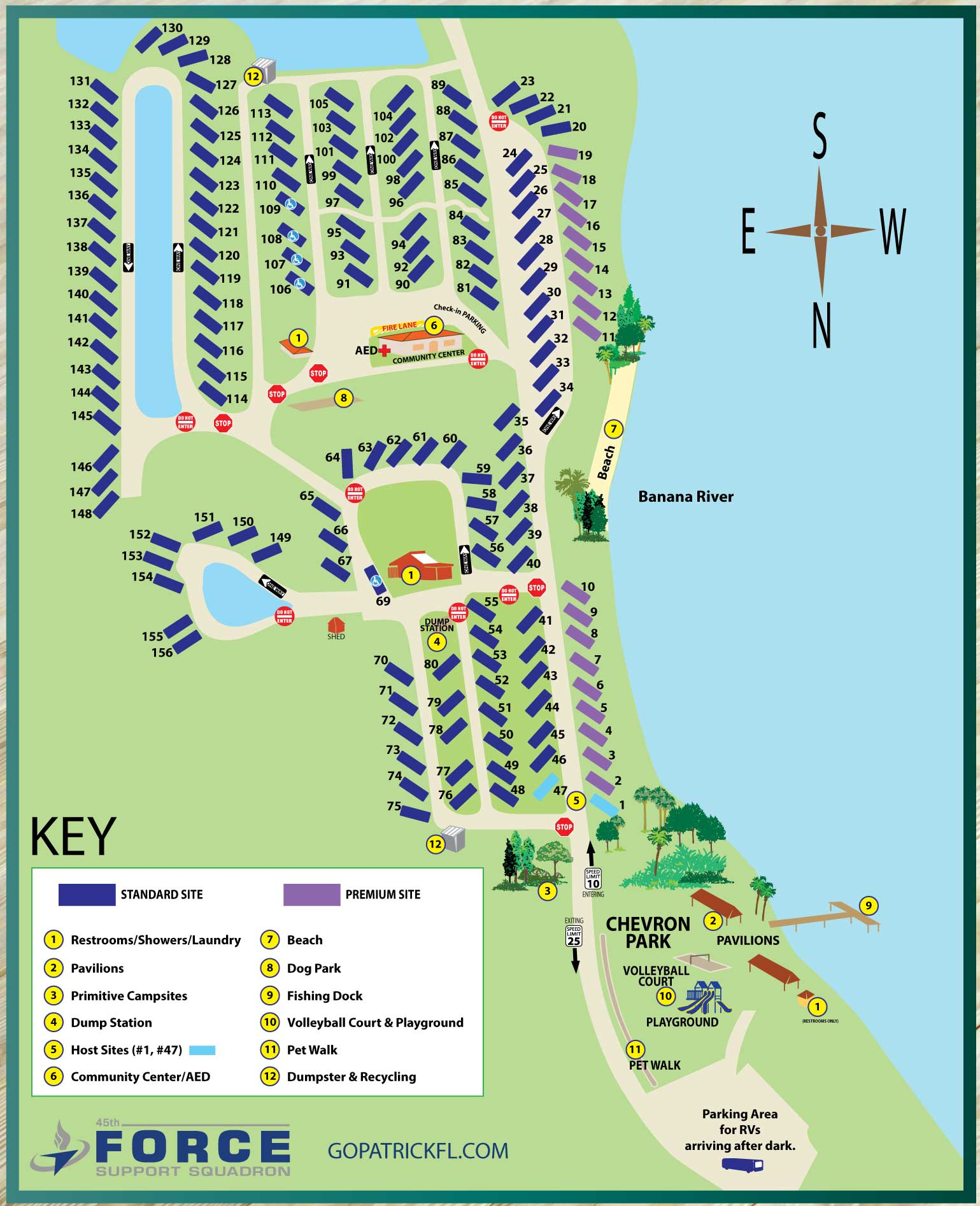 Patrick Air Force Base Famcamp - Campground With Water, Sewer, And - Florida Tent Camping Map