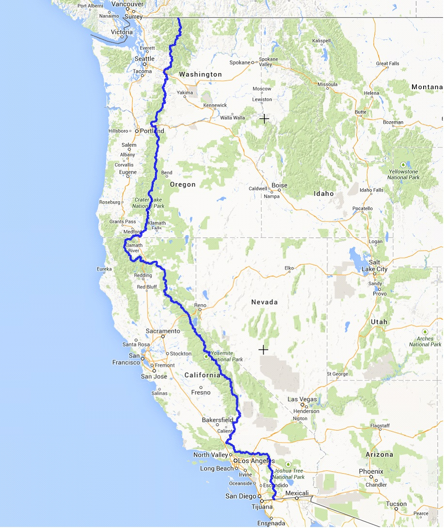 Pct Map Detailed Of Map Pacific Crest Trail Map California - Klipy - Pct Map California