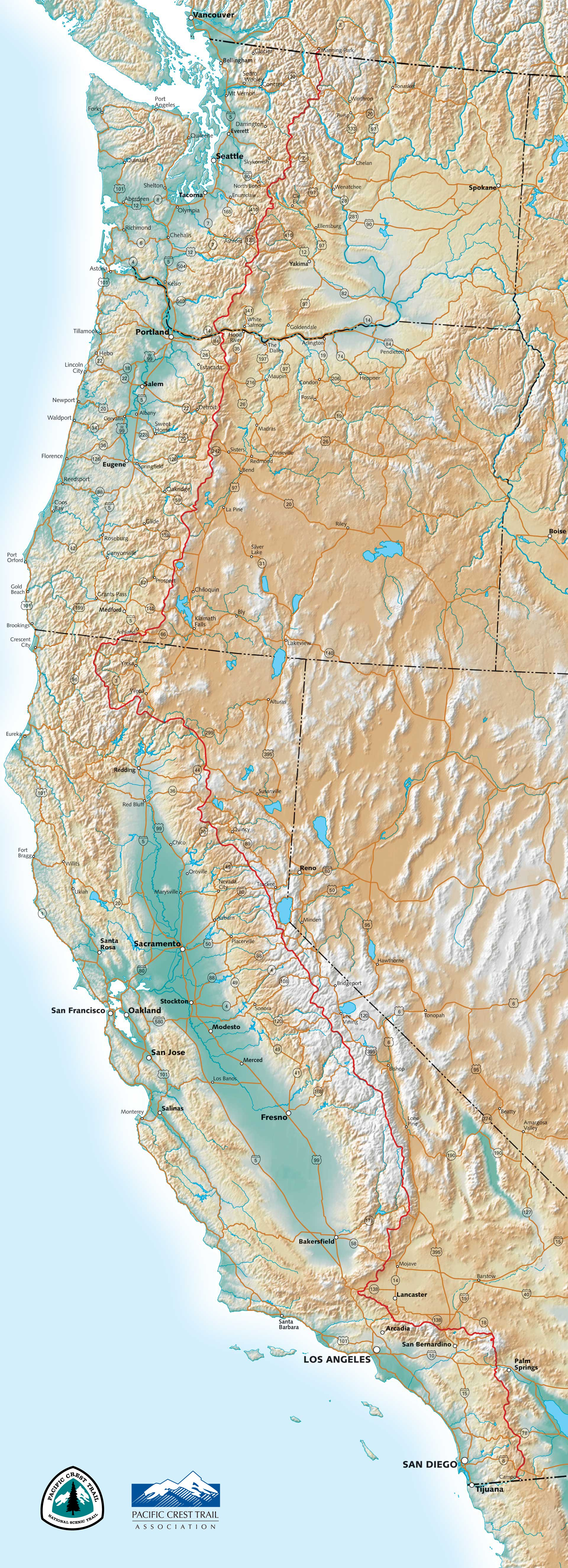 Pct Maps - Northern California Hiking Map