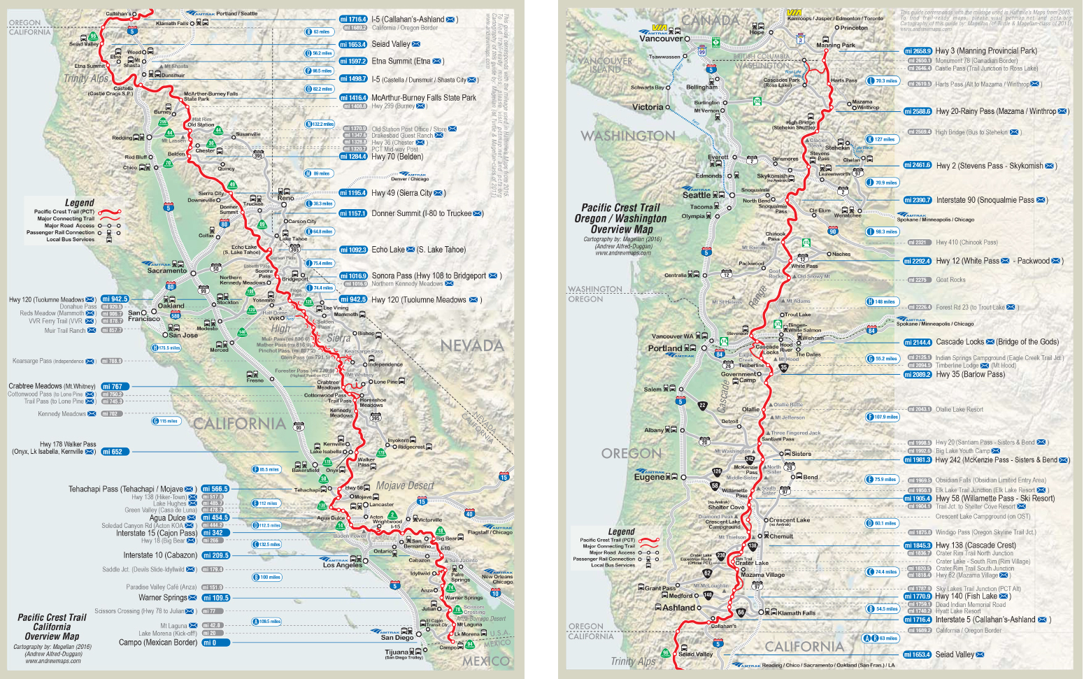 Pct Overview New Maps Of Pacific Crest Trail Map Southern California - Pct Map California