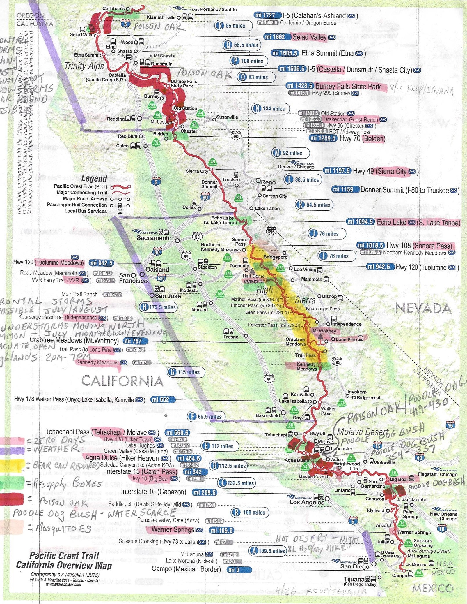 Pct Thru Hike Planning Map Southern New Of Maps Pacific Crest Trail - Pct Map California