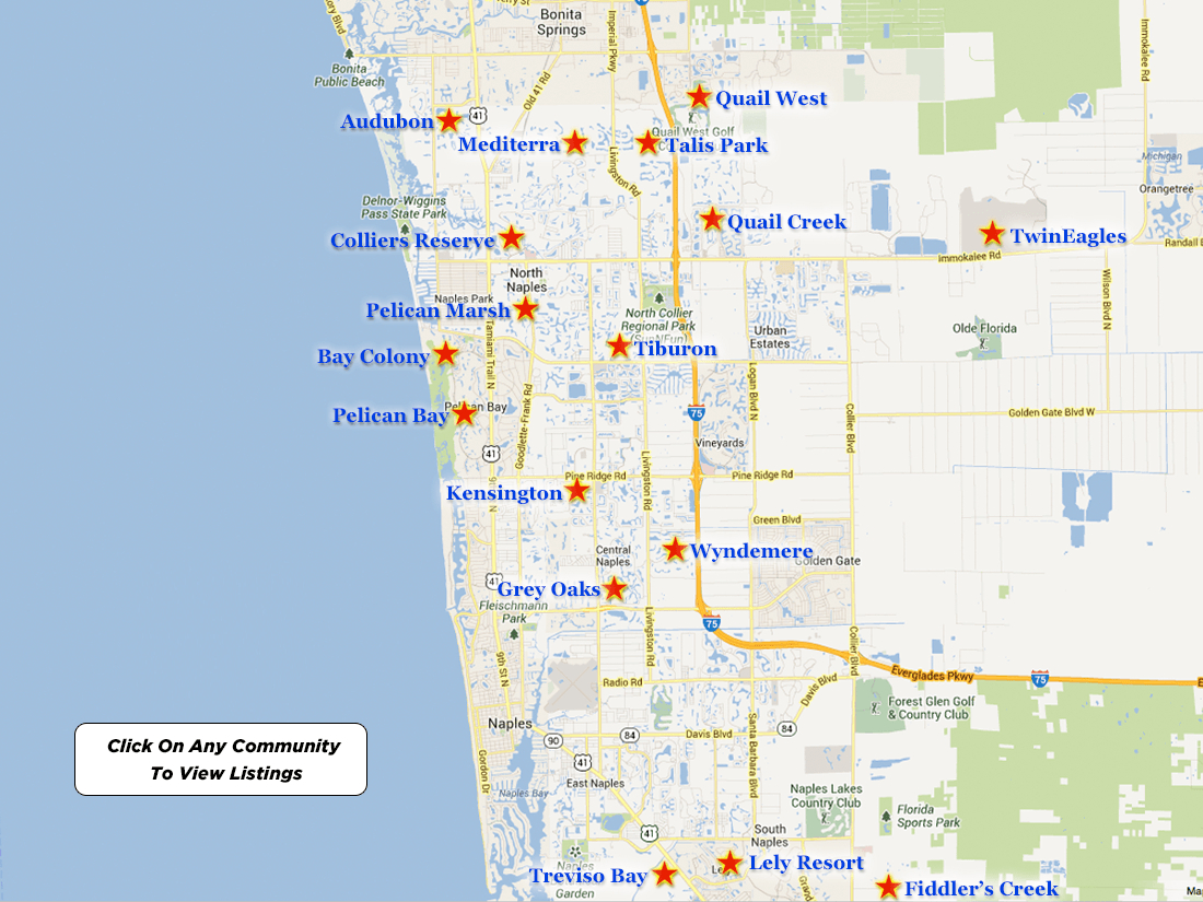 Pelican Bay Real Estate For Sale - Pelican Bay Florida Map