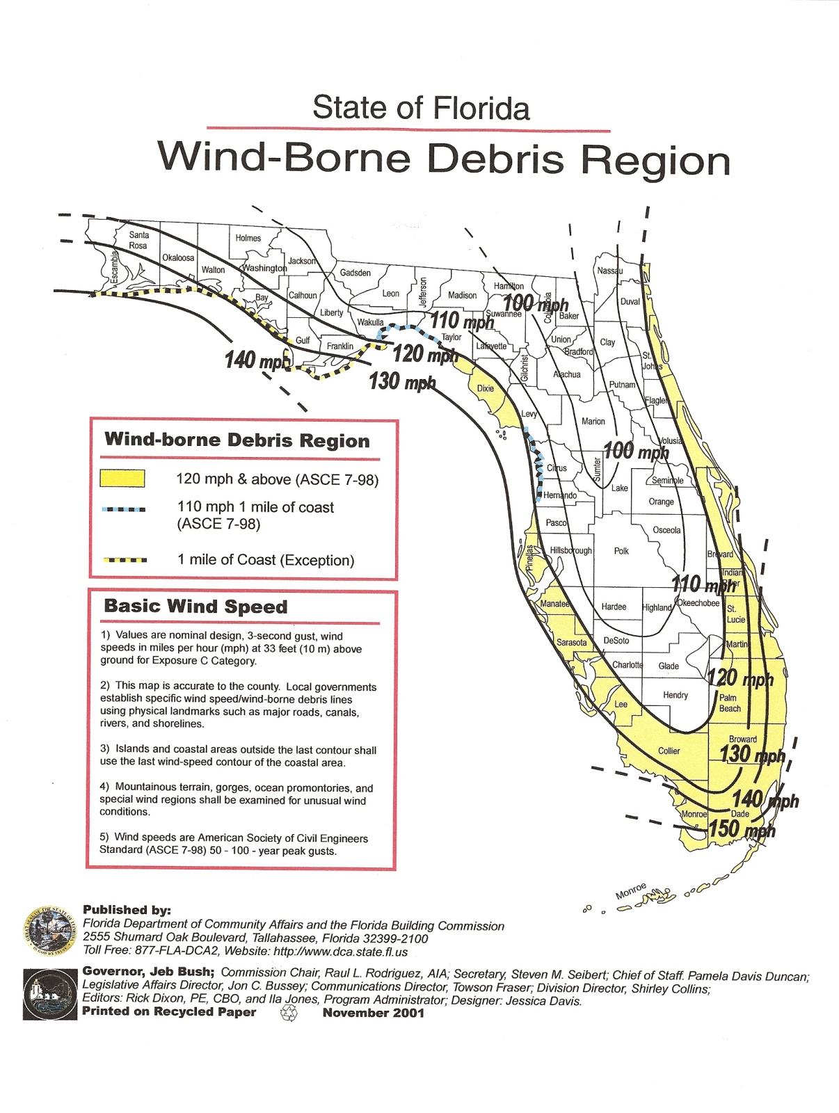 Permit Source Information Blog - Florida Wind Speed Map