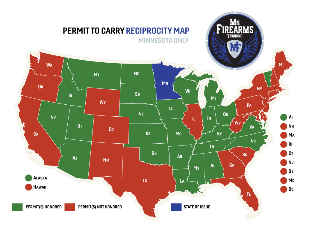 Permit To Carry Maps | Mn Firearms Training - Texas Chl Reciprocity Map 2017