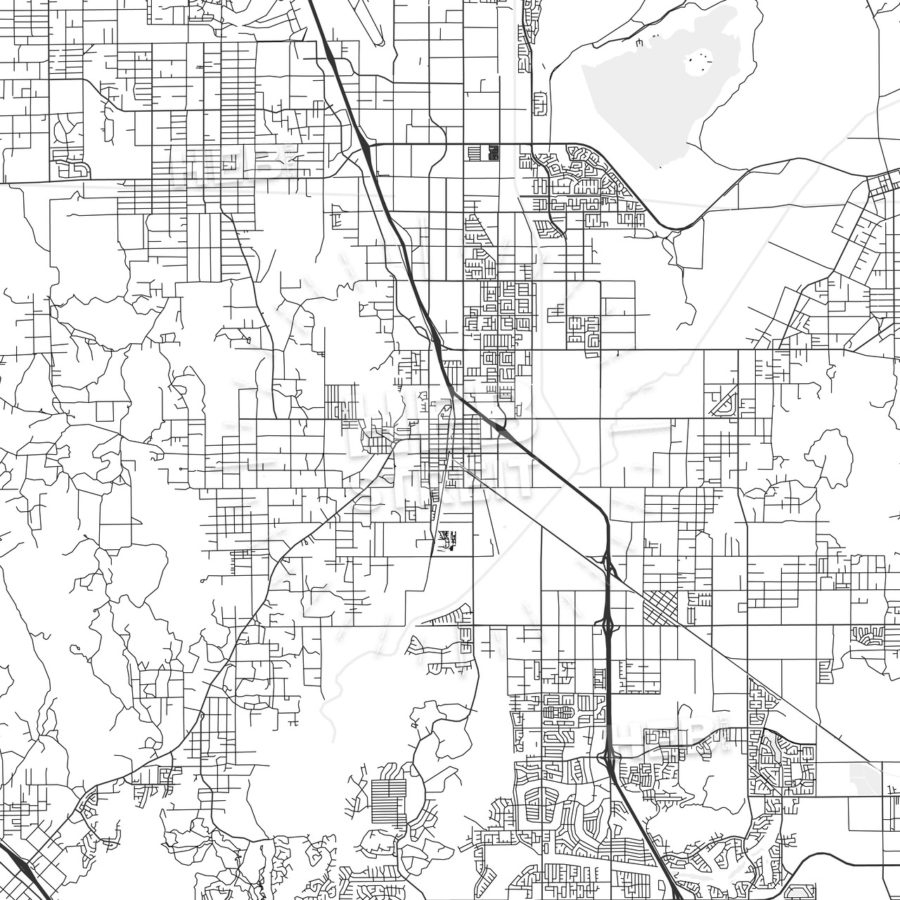 Perris, California - Area Map - Light   Hebstreits - Perris California Map