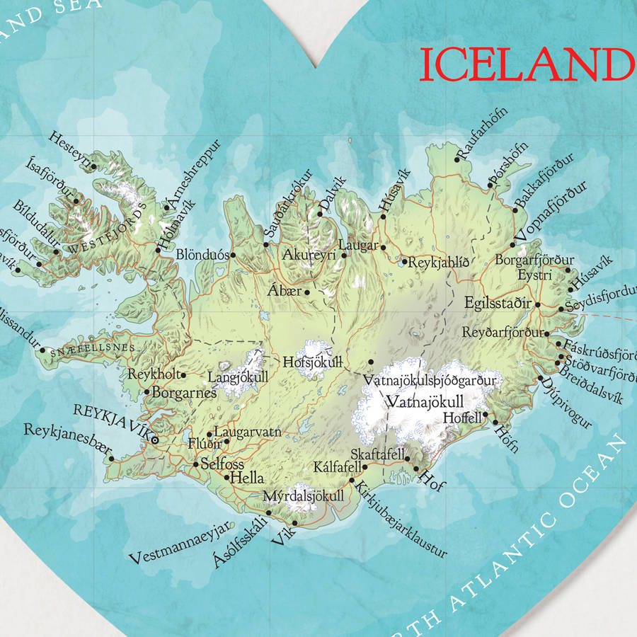 Personalised Iceland Map Heart Wedding Anniversary Giftbombus - Printable Map Of Iceland