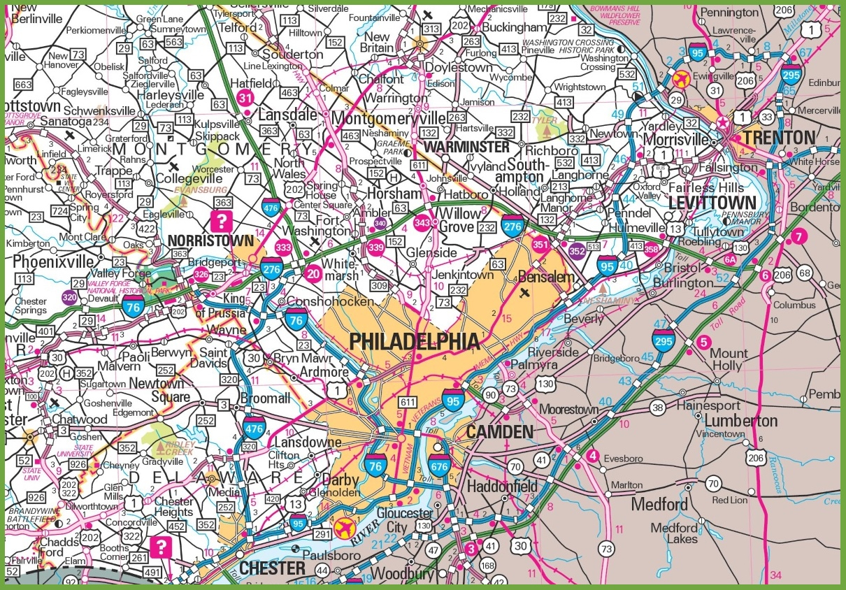 Philadelphia Area Map - Printable Map Of Philadelphia