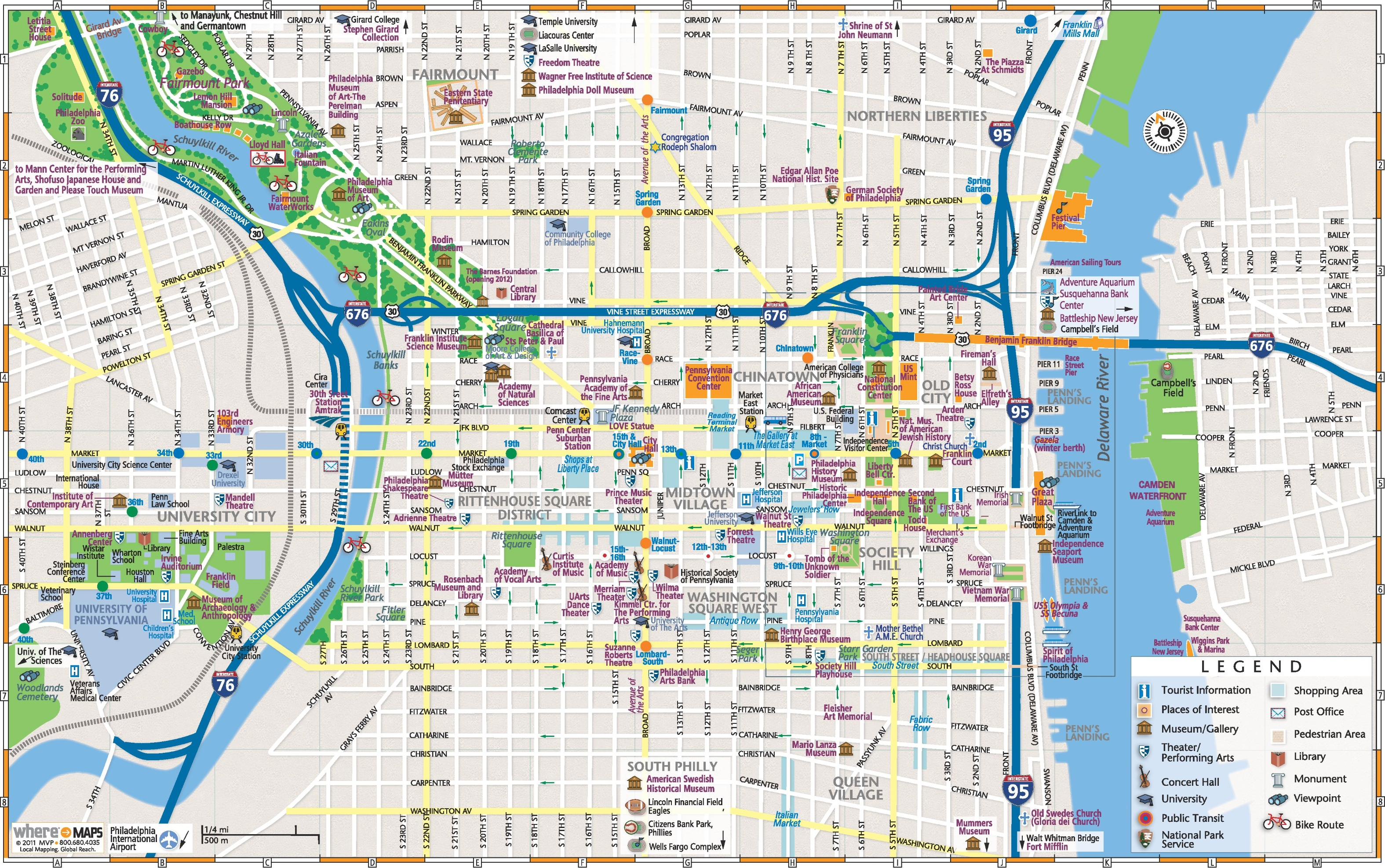 Philadelphia Downtown Map - Printable Map Of Philadelphia Attractions