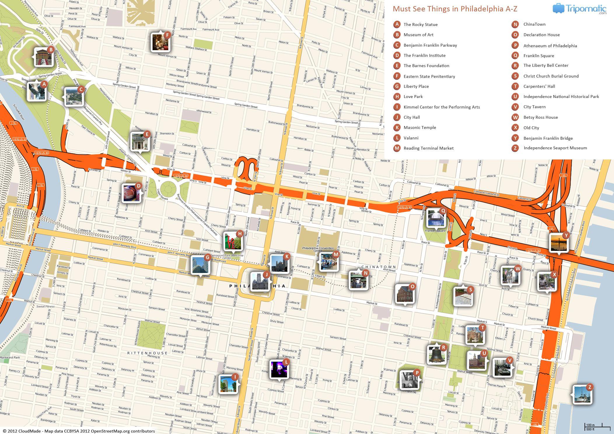 Philadelphia Printable Tourist Map   Free Tourist Maps - Map Of Old City Philadelphia Printable