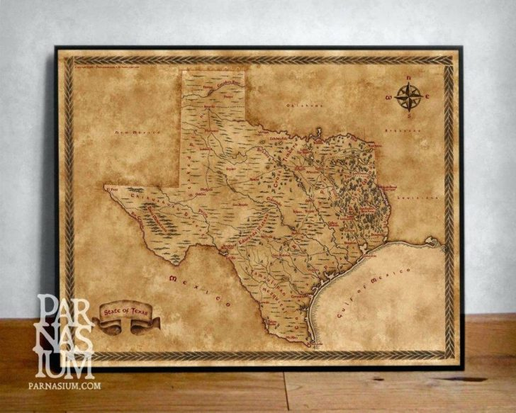 Old Texas Map Wall Art
