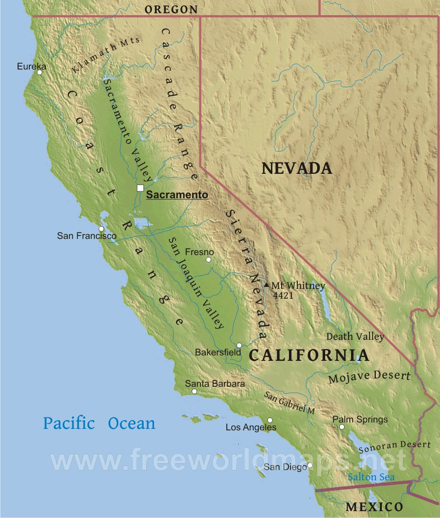 Physical Map Of California - California Geography Map
