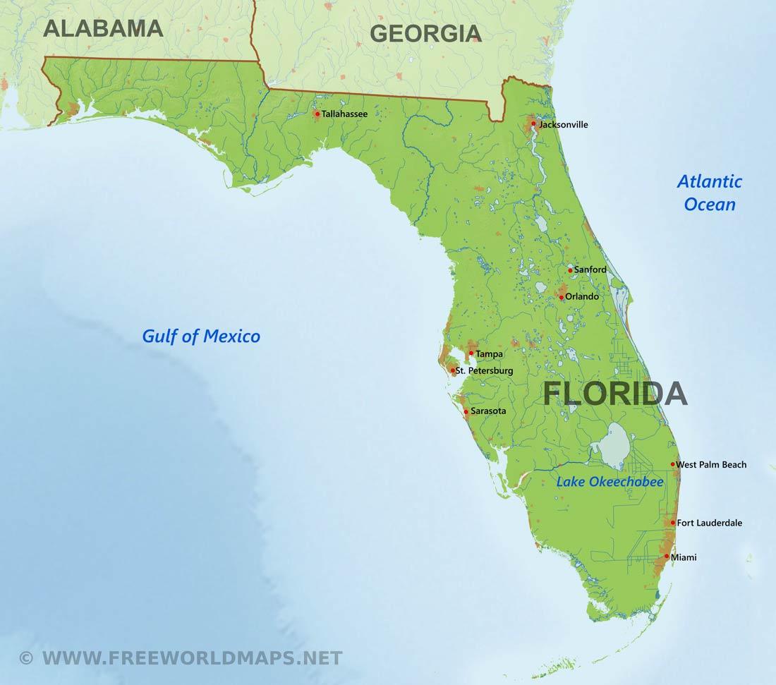 Physical Map Of Florida - Miami Lakes Florida Map