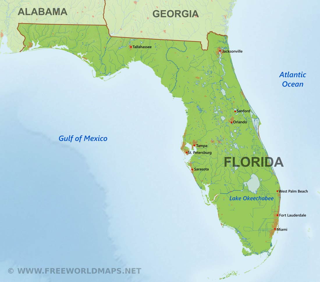 Physical Map Of Florida - Printable Map Of Florida Gulf Coast