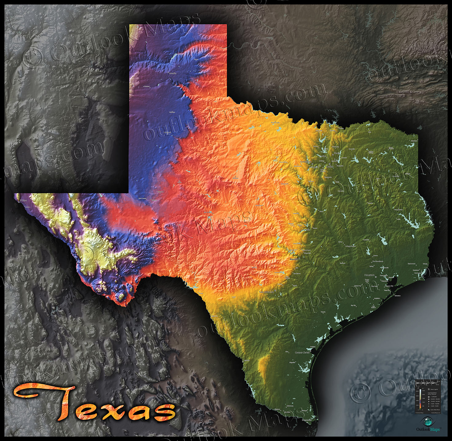 Physical Texas Map   State Topography In Colorful 3D Style - 3D Topographic Map Of Texas