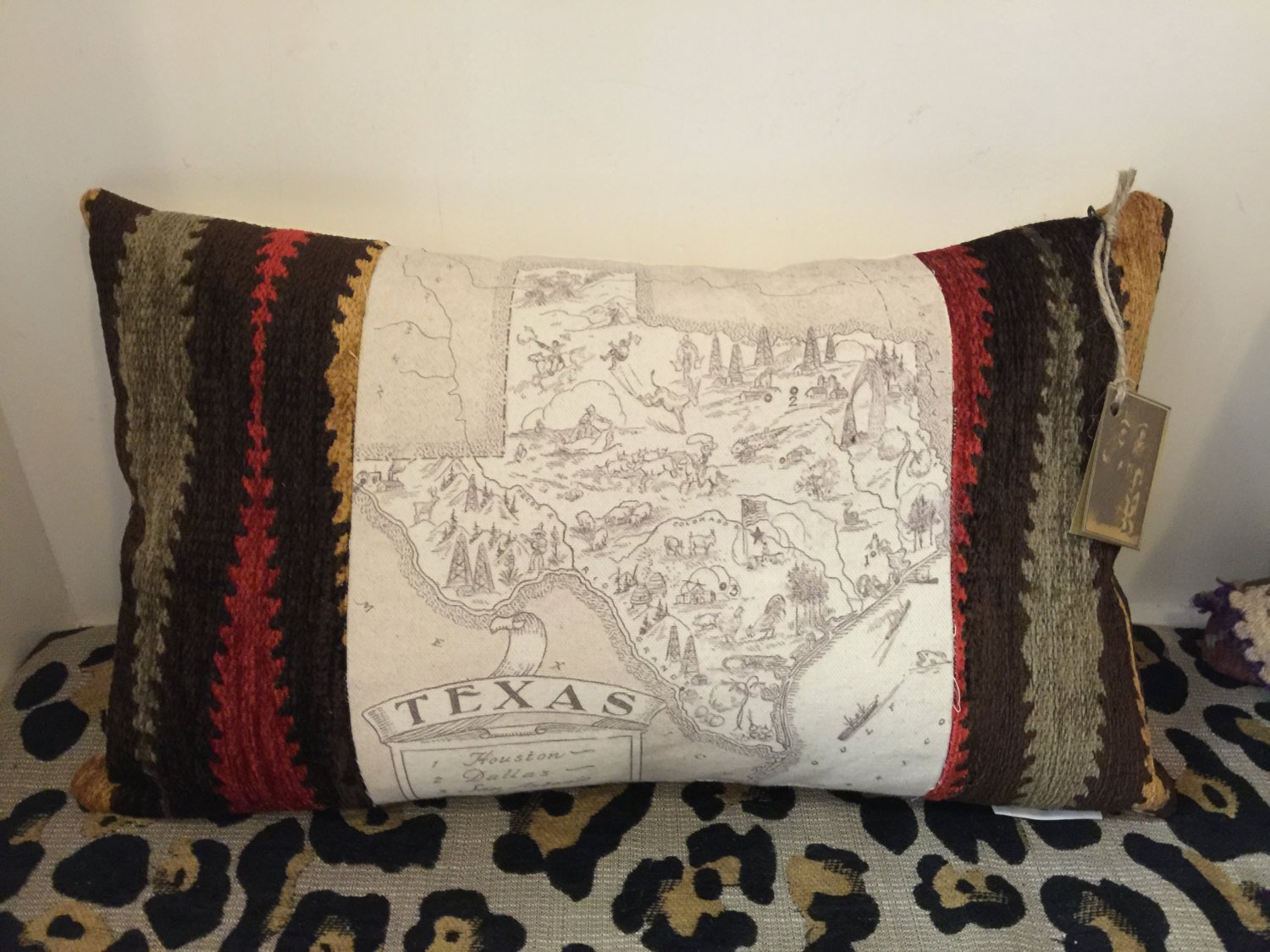 Pillow With Vintage Texas Map   Etsy - Texas Map Pillow