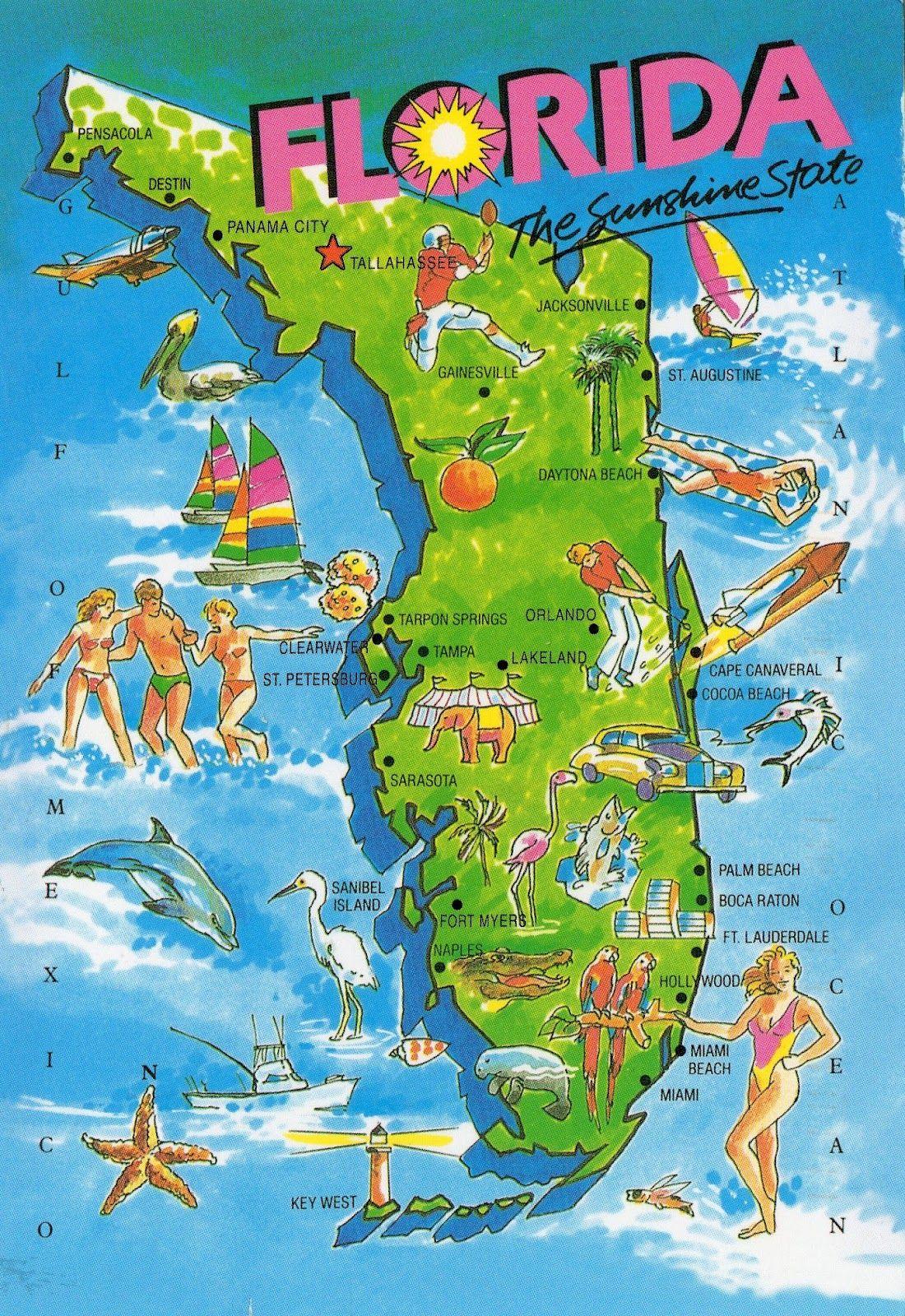 Pincody On National Parks Service | Sunshine State, Vintage - Florida Cartoon Map