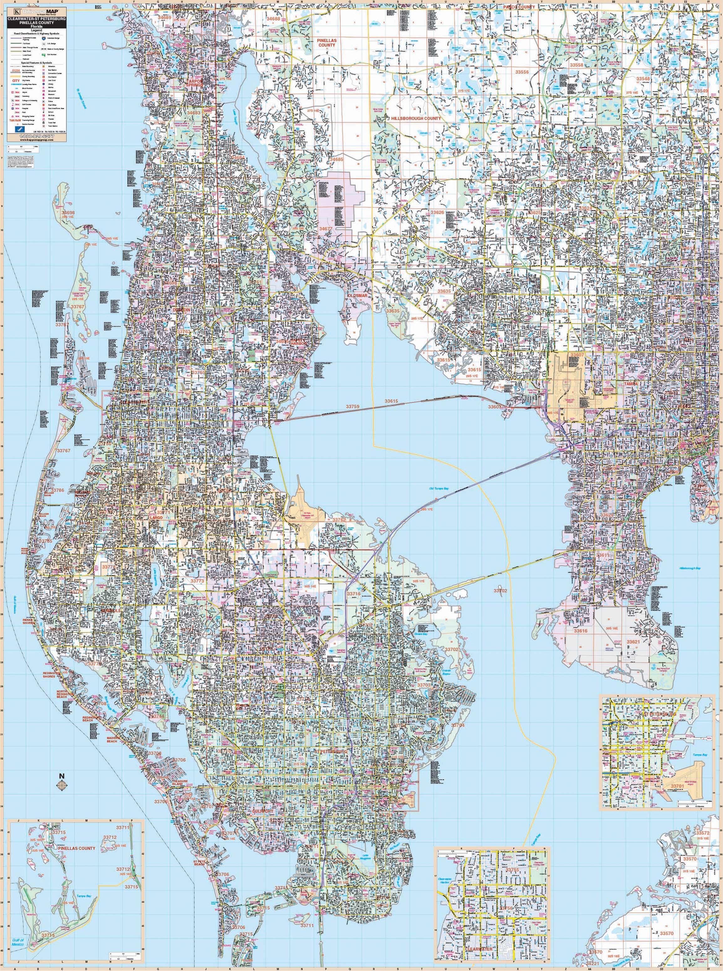 Pinellas County, Fl Wall Map – Kappa Map Group - Map Of Pinellas County Florida