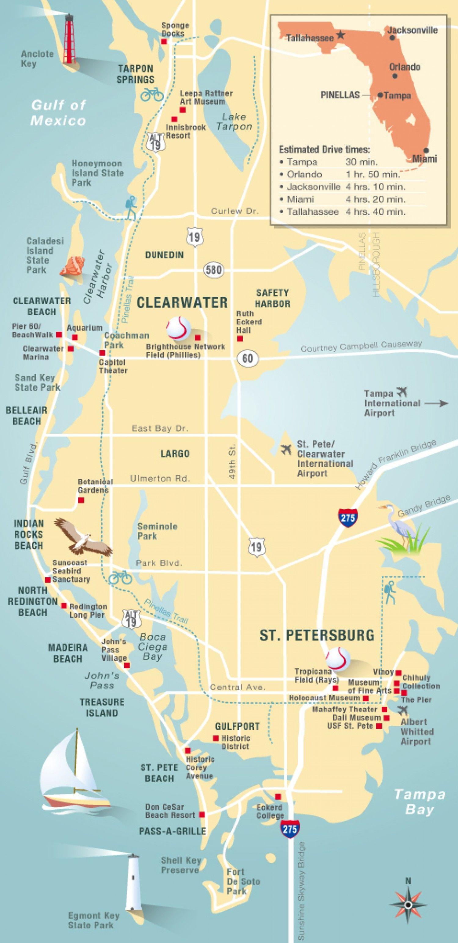 Pinellas County Map Clearwater, St Petersburg, Fl | Travel In 2019 - Belleair Beach Florida Map