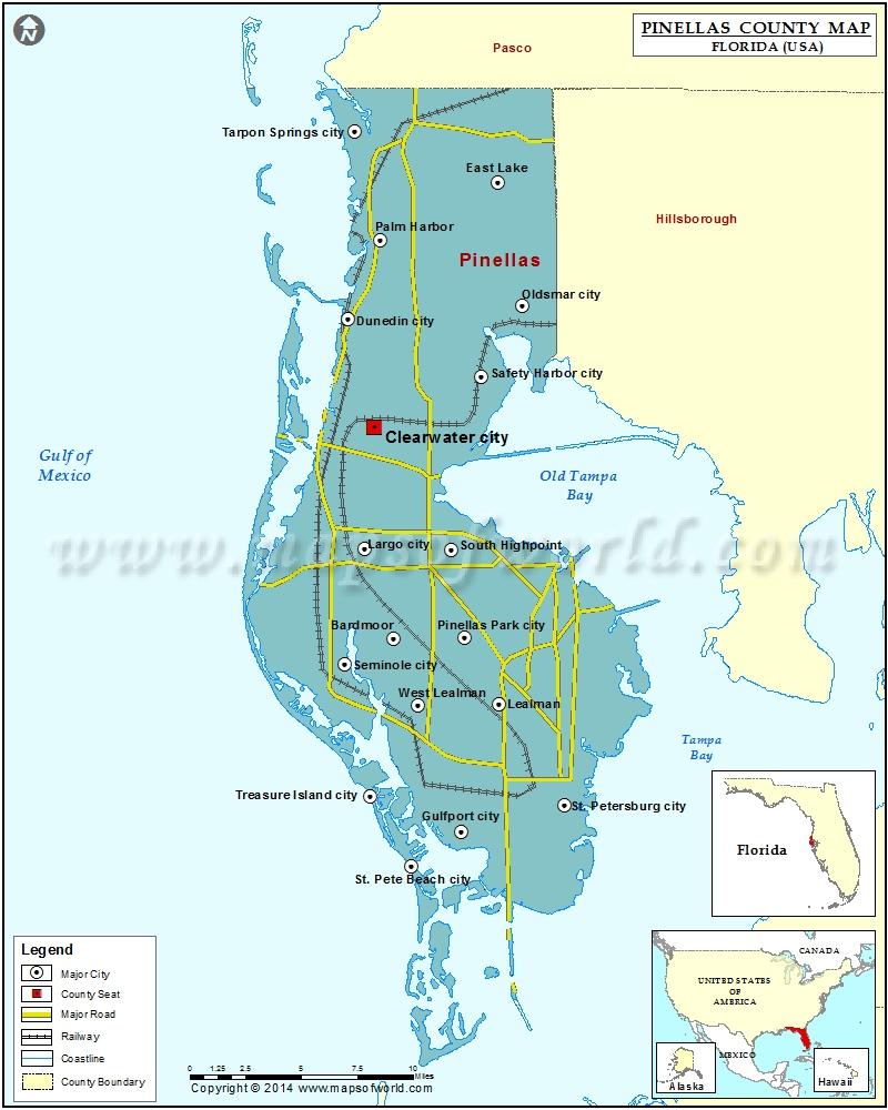 Pinellas County Map, Florida - Redington Beach Florida Map