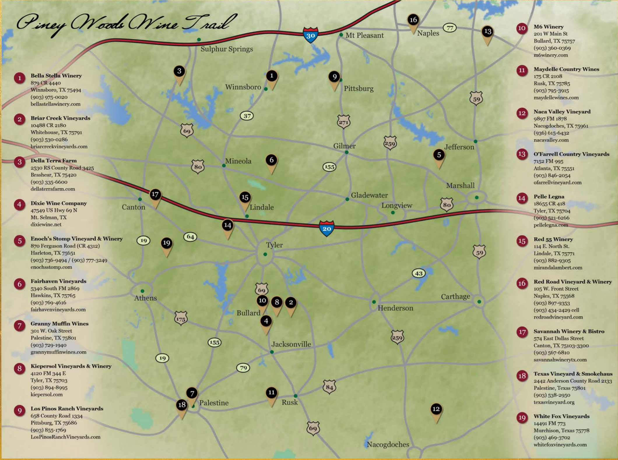 Piney Woods Wine Trail | Texas Uncorked - Texas Wine Trail Map