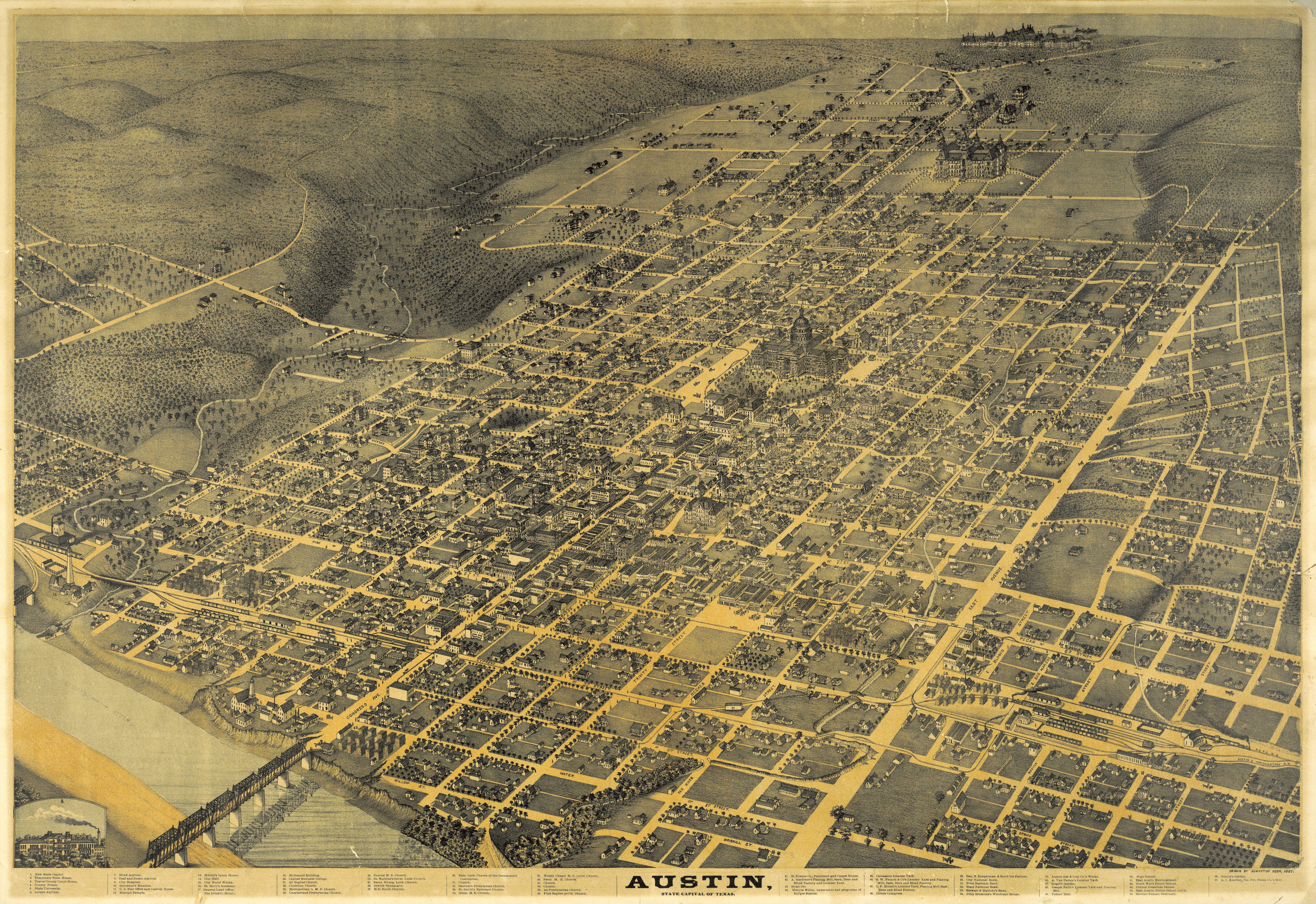 Pinjen Silva On Vintage | Austin Map, Map Store, Birds Eye View Map - Map Store Austin Texas