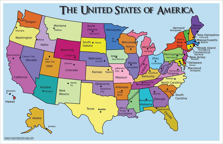 Pinlydia Pinterest1 On Maps | States, Capitals, U.s. States - Printable Us Map With States And Capitals