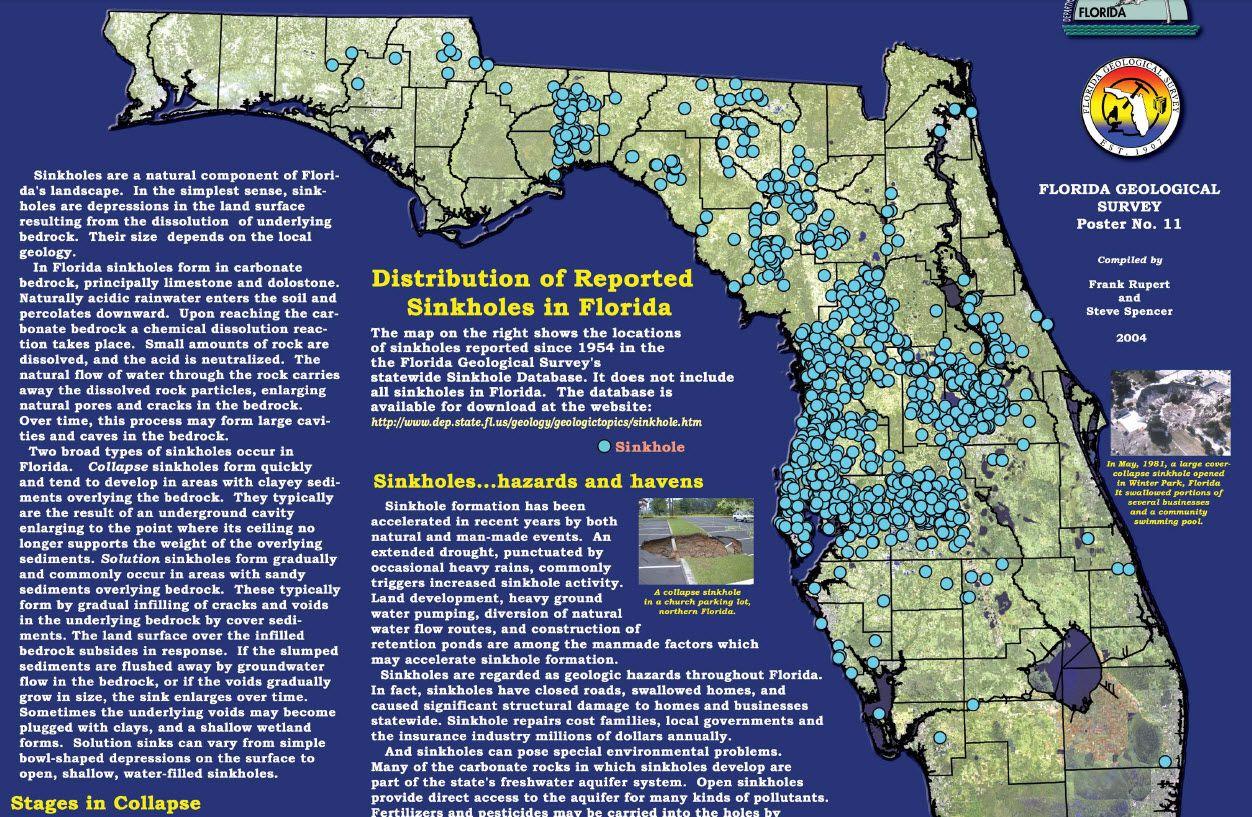 Pinmargaret Hampton On Sinkholes | Florida, Tampa Bay Area - Florida Geological Survey Sinkhole Map