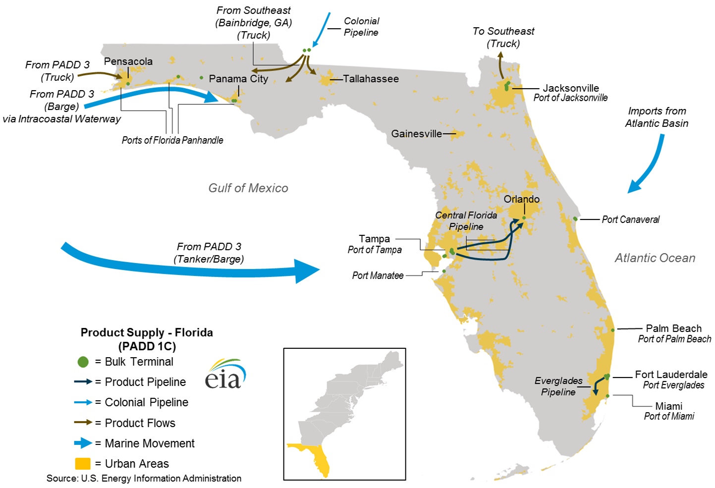 Pipelines, Tankers, And Barges Convey Transportation Fuels From Gulf - Florida Natural Gas Pipeline Map