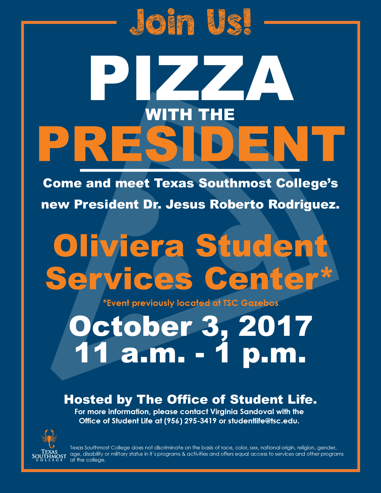 Pizza With The President - Texas Southmost College Map
