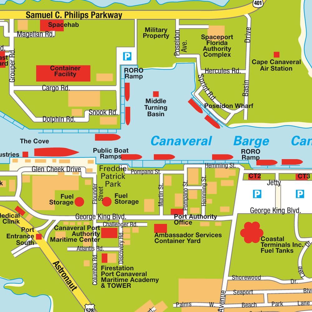 Plan Port Canaveral, Florida, Usa États-Unis D´amérique. Cartes - Port Canaveral Florida Map