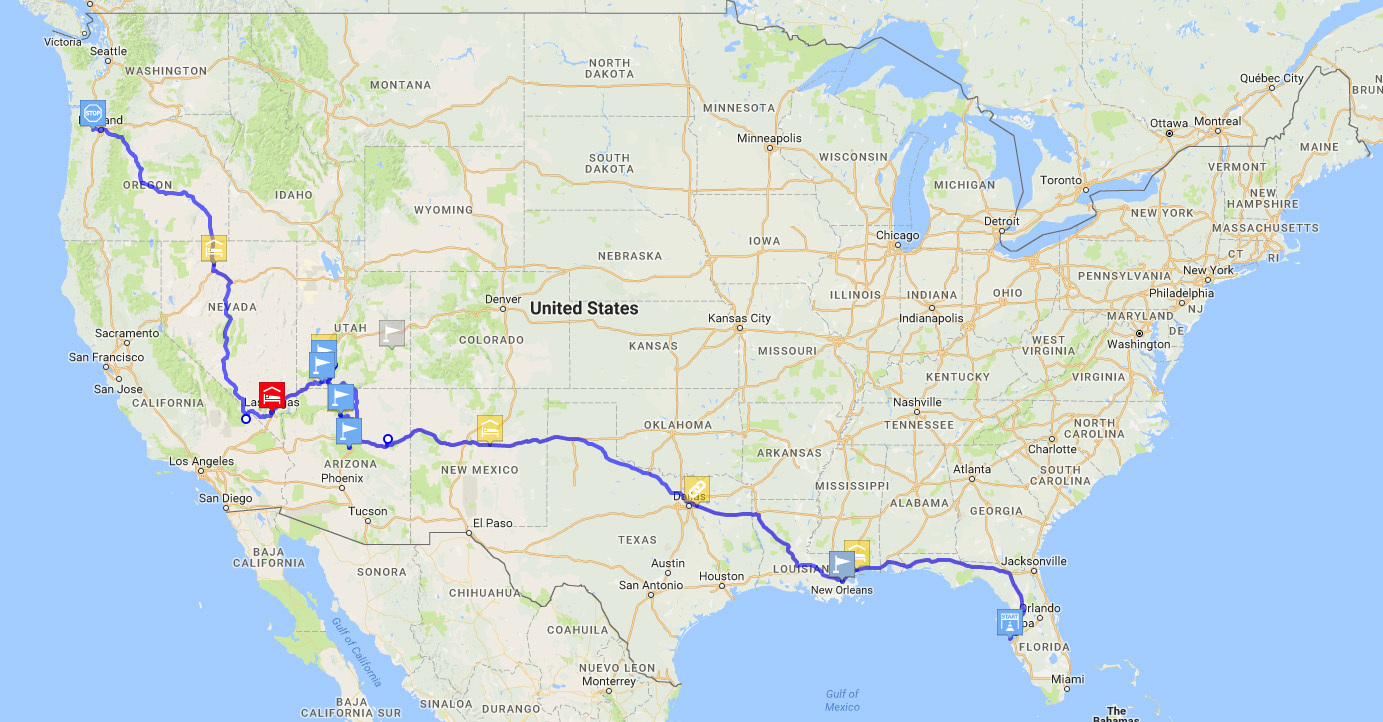 Planning My Move To Portland, Or With A Road Trip From Fl - California To Florida Road Trip Map