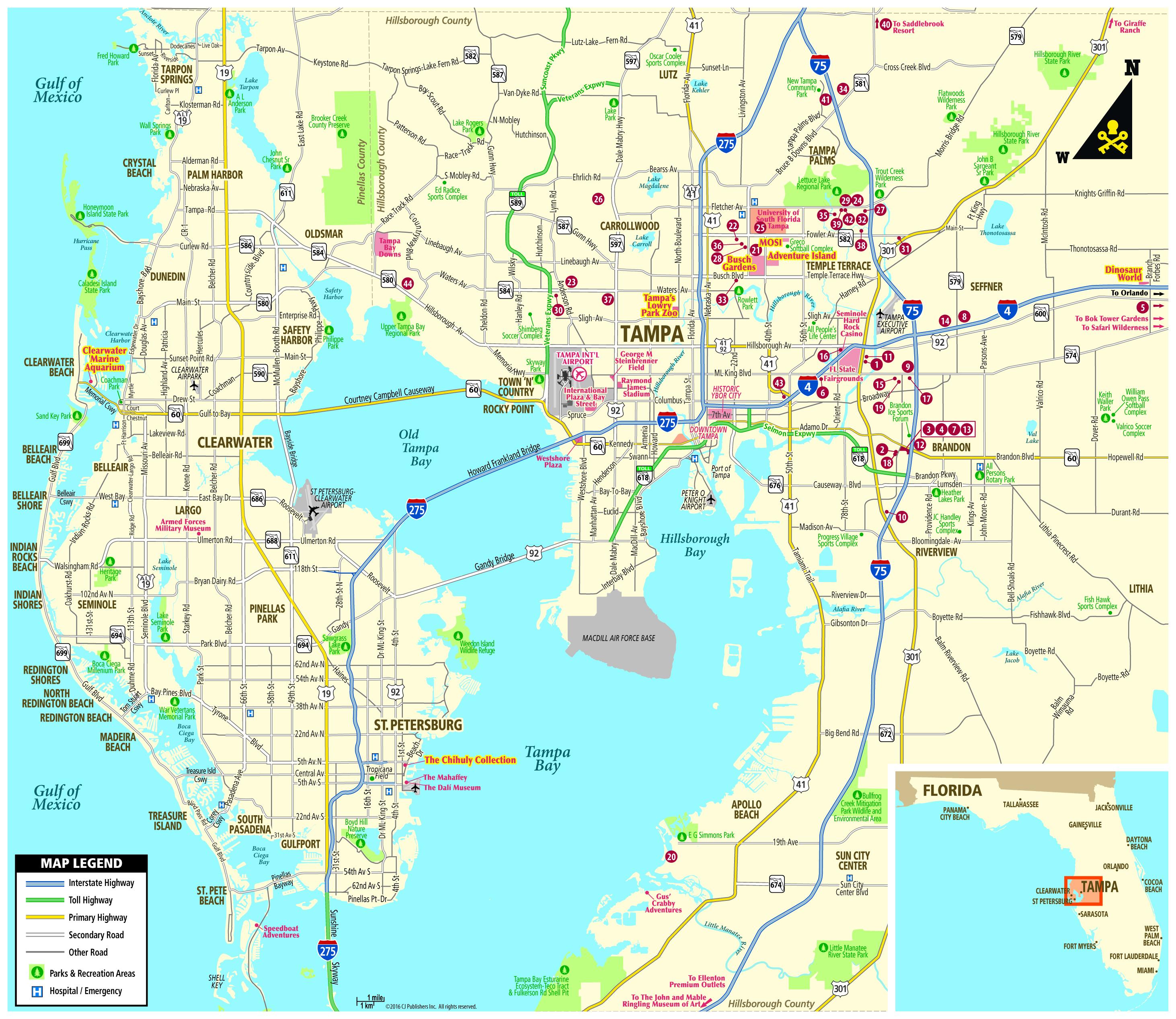 Pocket Map - Tampa Florida Airport Hotels Map