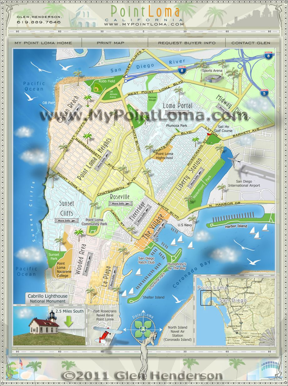 Point Loma Neighborhoods Map | San Diego Maps | San Diego Map, Ocean - Map Of Ocean Beach California