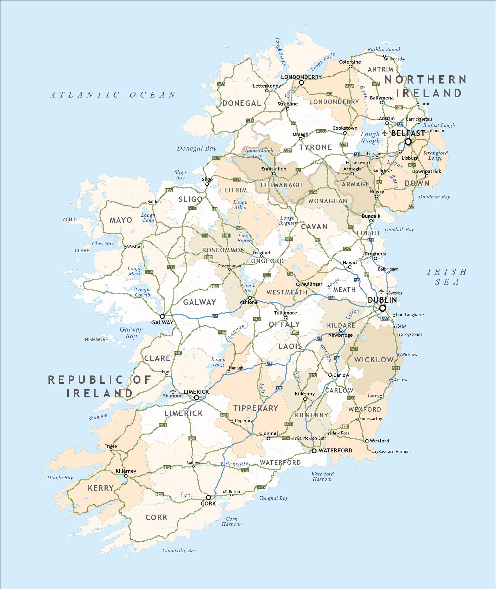Political Map Of Ireland - Royalty Free Editable Vector - Maproom - Printable Map Of Ireland