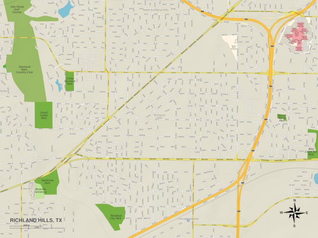 Political Map Of Richland Hills, Tx Print - Walmart - Richland Hills Texas Map