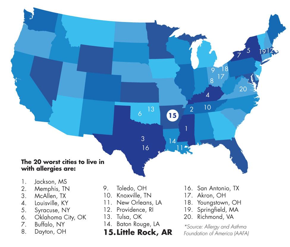 Pollen Puts Little Rock On Appalling Allergy List - Fit Arkansas - Allergy Map Texas